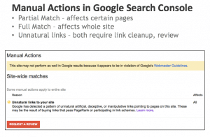 manual actions in Google