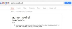 define advertorial on google