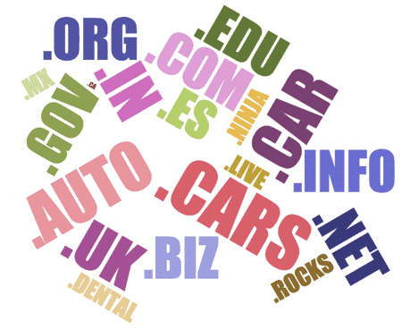 domain name TLD word cloud