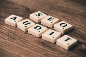 search engine optimization audit - scrabble pieces